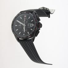 Tag Heuer Carrera Calibre 16 Working Chronograph PVD Case with Black Dial-Rubber Strap