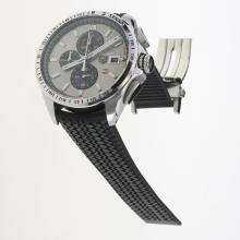 Tag Heuer Carrera Calibre 16 Working Chronograph with Gray Dial-Rubber Strap