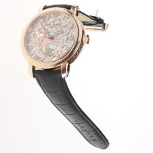 Patek Philippe Manual Winding Rose Gold Case with Skeleton Dial-Leather Strap-1