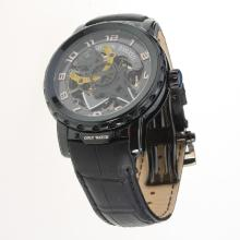 Ulysse Nardin Automatic PVD Case with Skeleton Dial-Leather Strap