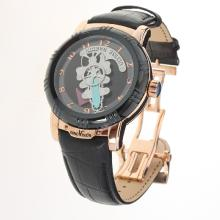 Ulysse Nardin Automatic Rose Gold Case with Black Dial-Leather Strap