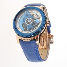 Ulysse Nardin Automatic Rose Gold Case with Skeleton Dial-Leather Strap-2