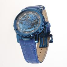 Ulysse Nardin Automatic Blue Case with Skeleton Dial-Leather Strap