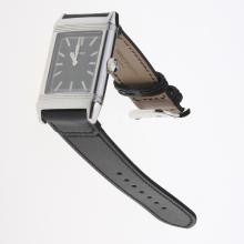 Jaeger-Lecoultre Reverso Stick Markers with Black Dial-Leather Strap-2