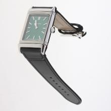 Jaeger-Lecoultre Reverso Stick Markers with Green Dial-Leather Strap