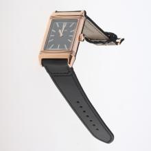 Jaeger-Lecoultre Reverso Rose Gold Case Stick Markers with Black Dial-Leather Strap-1