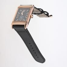 Jaeger-Lecoultre Reverso Rose Gold Case Stick Markers with Black Dial-Leather Strap