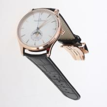 Jaeger-Lecoultre Master Control 29J Automatic Rose Gold Case with Silver Dial-Leather Strap