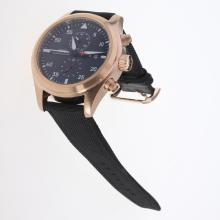 IWC Pilot Top Gun Working Chronograph Rose Gold Case with Black Dial-Nylon Strap-1