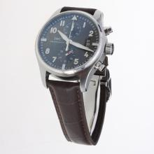 IWC Pilot Chronograph Swiss Valjoux 7750 Movement with Black Dial-Leather Strap-3
