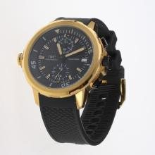 IWC Aquatimer Working Chronograph Gold Case Yellow Markers with Black Dial-Rubber Strap