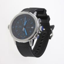 IWC Aquatimer Working Chronograph Blue Markers with Black Dial-Rubber Strap