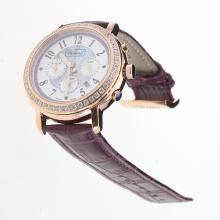 Chopard Imperiale Working Chronograph Rose Gold Case Diamond Bezel with Purple MOP Dial-Purple Leather Strap
