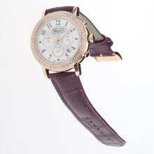 Chopard Imperiale Working Chronograph Rose Gold Case Diamond Bezel with MOP Dial-Purple Leather Strap