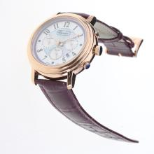 Chopard Imperiale Working Chronograph Rose Gold Case with Purple MOP Dial-Purple Leather Strap