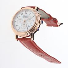 Chopard Imperiale Working Chronograph Rose Gold Case with MOP Dial-Red Leather Strap