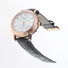 Chopard Imperiale Working Chronograph Rose Gold Case with Blue MOP Dial-Black Leather Strap