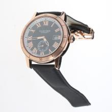 Cartier Ronde Croisière de Cartier Automatic Rose Gold Case with Black Dial-Nylon Strap
