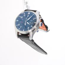 IWC Pilot Chronograph Swiss Valjoux 7750 Movement with Black Dial-Leather Strap