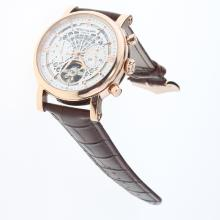 Patek Philippe Perpetual Calendar Tourbillon Automatic Rose Gold Cae with White Dial-Leather Strap-1