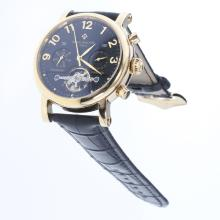 Patek Philippe Perpetual Calendar Tourbillon Automatic Gold Case with Black Dial-Leather Strap-2
