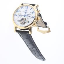 Patek Philippe Perpetual Calendar Tourbillon Automatic Gold Case with White Dial-Leather Strap-3