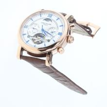 Patek Philippe Perpetual Calendar Tourbillon Automatic Rose Gold Case with White Dial-Leather Strap