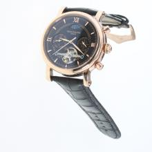 Patek Philippe Perpetual Calendar Tourbillon Automatic Rose Gold Case with Black Dial-Leather Strap