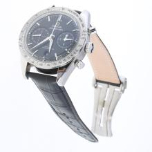 Omega Speedmaster Working Chronograph Swiss 9300 Automatic Movement with Black Dial-Leather Strap