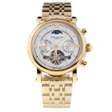 Patek Philippe Perpetual Calendar Tourbillon Automatic Full Gold with White Dial