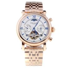 Patek Philippe Perpetual Calendar Tourbillon Automatic Full Rose Gold with White Dial