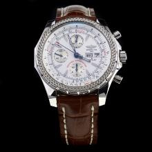 Breitling for Bentley GT Chronograph Swiss Valjoux 7750 Movement with White Dial-Leather Strap