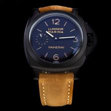 Panerai Luminor Marina Swiss Calibre P.3001 Manual-winding Movement PVD Case with Black Dial-Leather Strap