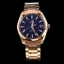 Omega Seamaster Swiss ETA 8500 Movement Full Rose Gold with Black Dial