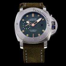 Panerai Luminor Submersible Automatic with Green Dial-Leather Strap