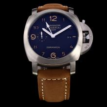 Panerai Luminor Working GMT Automatic Titanium Case with Black Dial-Leather Strap-1