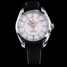 Omega Seamaster Working GMT Swiss CAL 8605 Movement with White Dial-Nylon Strap