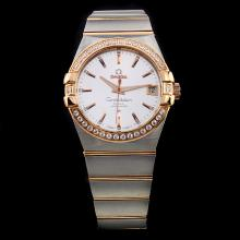 Omega Constellation Swiss ETA 8500 Movement Two Tone Diamond Bezel Stick Markers with Silver Dial