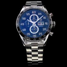 Tag Heuer Carrera Calibre 16 Working Chronograph Ceramic Bezel with Black Checkered Dial S/S Day-Date