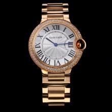 Cartier Ballon bleu de Cartier Swiss ETA Movement Full Rose Gold Diamond Bezel with Silver Dial-Roman Marking
