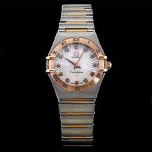 Omega Constellation Two Tone Diamond Marking with White Dial-Lady Size