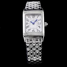 Jaeger-Lecoultre Reverso White Dial with Number Marking S/S Lady Size