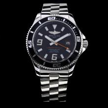 Breitling Super Ocean Automatic with Black Bezel and Dial S/S-Orange Needle