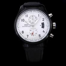 IWC Top Gun Pilot Working Chronograph PVD Case with White Dial-Nylon Strap