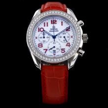 Omega Speedmaster Working Chronograph Diamond Bezel with MOP Dial-Red Leather Strap Lady Size