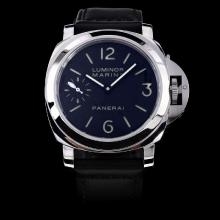 Panerai Luminor Marina Super Luminous Swiss ETA 6497 Movement Swan Neck with Black Dial-Leather Strap