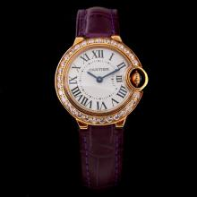 Cartier Ballon bleu de Cartier Swiss ETA Movement Rose Gold Case Diamond Bezel with White Dial-Purple Leather Strap
