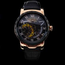 Ulysse Nardin Automatic Rose Gold Case with Skeleton Dial-Leather Strap