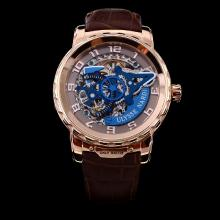 Ulysse Nardin Automatic Rose Gold Case Skeleton Dial with Number Marking-Leather Strap