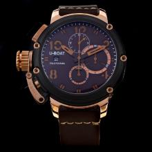 U-Boat Italo Fontana Working Chronograph Rose Gold Case PVD Bezel with Brown Dial-Leather Strap